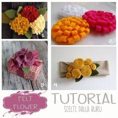 Oggi, a parole, sarò brevissima..... Voglio proporvi una raccolta di tutorial fotografici per realizzare fiori in feltro. Voi non lo sapete ancora.... ma saranno molto utili per le prossime creazioni