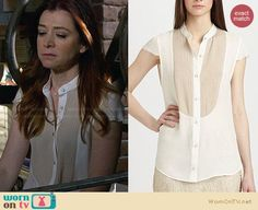 Lily's white and nude front panel blouse on How I Met Your Mother.  Outfit Details: http://wornontv.net/28384/ #HIMYM