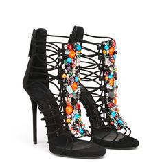 For Sale on - ONLY PAIR! Giuseppe Zanotti New Sold Out Black Suede Crystal Evening Gladiator Heels in Box Size IT Suede Crystal Zipper back closure Made in Italy Suede Sandals, Suede Heels, Black Sandals, Black Heels, High Heels, Shoes Heels, Dress Sandals, Black Suede, Shoe Boots