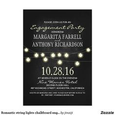 Romantic string lights chalkboard engagement party