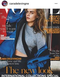 Cover with Cara Delevingne September 2016 of GB based magazine Vogue UK from Condé Nast Publications including details. Vogue Uk, Vogue Fashion, Look Fashion, Fashion Photo, New Fashion, Vogue 2016, Trendy Fashion, Europe Fashion, Trendy Style