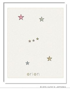Project:  Something like this for each...   Constellations Art Print Set. Cassiopeia by thedreamygiraffe, $54.00