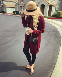 Burgundy cardigan | leather pants | leopard flats | floppy hat | coffee | ootd