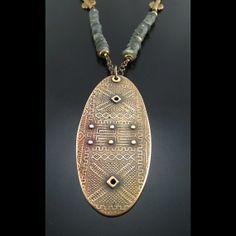 Bronze Mudcloth Necklace by Gail Lannum