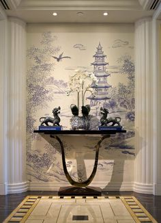 Chinoiserie Handpainted Wallpaper and Mural: Westlake Scenery Custom Size Available Two Panels Shown Asian Interior Design, Asian Design, Modern Chinese Interior, Interior Design Wallpaper, Asian Inspired Decor, Asian Home Decor, Asian Inspired Bedroom, Chinoiserie Wallpaper, Chinoiserie Chic