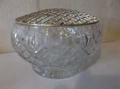 Vintage Crystal Glass Vase MCM Circa 1950s Wedding Vase Scottish Edinburgh Crystal Flower Frog by Retromagination on Etsy