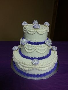 Purple and white wedding cake by A Cupcake Queen -Crystal Gruber.