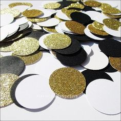 Black, white and gold glitter party confetti will add an elegant and decorative touch to wedding and party tables! We hand punch each piece from the highest quality card stock for your special celebra