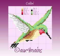 Hummingbird hama beads pattern by aux4mains
