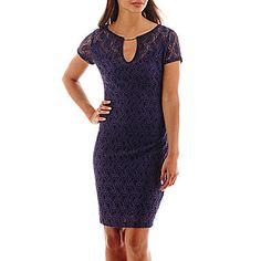 jcp | Bisou Bisou® Short-Sleeve Lace Hardware Sheath Dress