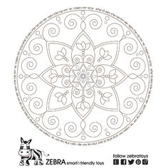 A Printable Jewish Floral Harmony Mandala with A Star Of David & Hebrew Blessing Letters. INSTANT DOWNLOAD Digital Printable Coloring page