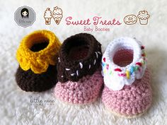 Sweet Treats for your baby's little feet! These baby booties take about 2 to 3 hours to make and can be crocheted with any worsted weight yarn. With all sorts of different color combinations, they can be made to look like doughnuts, cupcakes, melting ice cream or even birthday cake booties!
