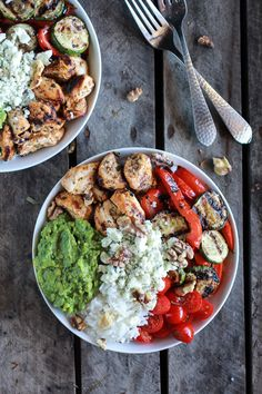 California Chicken, Veggie, Avocado and Rice Bowls | halfbakedharvest.com Replace the rice with cauliflower rice and add in some yellow squash- primal