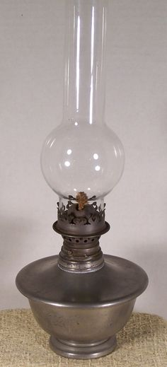 """Simple, yet very elegant Pewter Oil Lamp made by the """"International Silver Co. Lantern Lamp, Candle Lamp, Chandelier Lamp, Candle Lanterns, Candleholders, Chandeliers, Antique Oil Lamps, Old Lamps, Antique Lighting"""