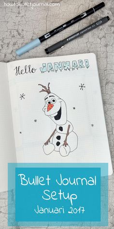 It's freezing cold here and Sylvester is coming! It's been a few busy weeks with a lot of work to do and assignments to finish. I finally have two weeks off. High time for the January's 2017 Bullet Journal setup! January Bullet Journal, Bullet Journal Hacks, Bullet Journal Layout, Bullet Journal Inspiration, Olaf, Bullet Journel, Journal Pages, Journal Notebook, Smash Book
