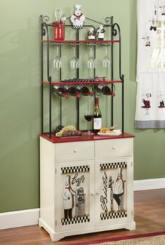 bon appetit bakers rack make the most of kitchen space while adding a touch of decorative flair chef themed bakers rack has racks for wine and wine - Kitchen Chef Decorations