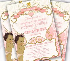 Girl Baby Shower SIP AND SEA Invitation Pink and by Hottomatoink2