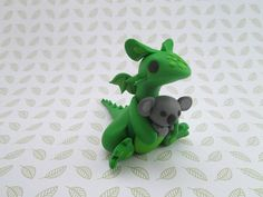 OOAK Hand Made Green Polymer Clay Dragon by KriannaCrafts on Etsy