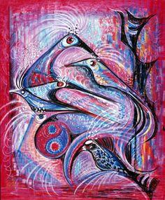 Eva Bednay: Paradeisbirds, oil pastel