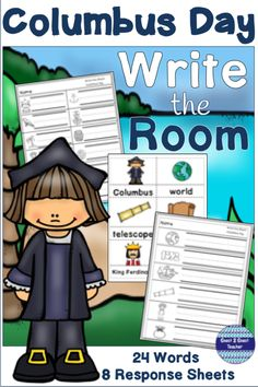 These twenty-four colorful vocabulary and writing activities are just right to introduce Christopher Columbus in Kindergarten and First Grade classrooms.  Students practice reading and writing by matching vocabulary picture cards to one of the eight printable worksheets provided! Hide the vocabulary cards around the room for even more fun! #columbusdayactivities #columbusdayactivitiesforkids #kindergartenwritetheroom #firstgradewritetheroom #writetheroom