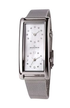 Free shipping and returns on Skagen Dual Time Mesh Band Watch, 19mm x 36mm at Nordstrom.com. Sparkling crystals mark the indexes of a polished, dual-time watch styled with a luminous mother-of-pearl dial and a slender mesh band.