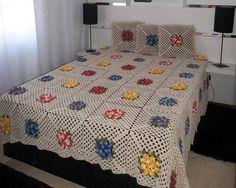 CLEIDE CRIATIVARTS: Colcha de crochê com Square florido CAPA DE CAMA