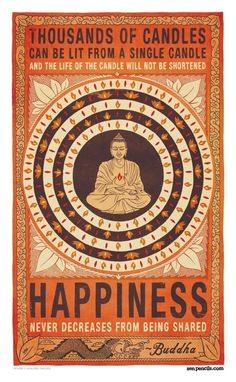 """""""Thousands of candles can be lit from a single candle and the life of the candle will not be shortened. Happiness never decreases from being shared"""" - Buddha. Share happiness and feel your own happiness grow! The Words, Way Of Life, The Life, Namaste, Pop Art Poster, Print Poster, Religion, The Knowing, Buddha Quote"""
