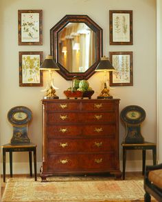 Notes: May could use this idea above Eastlake chest in guest room. Botanicals, mirror & antique dresser form lovely vignette in Southern Accents Magazine Design Entrée, House Design, Design Ideas, Entryway Decor, Wall Decor, Modern Entryway, Wall Art, Interior Exterior, Interior Design