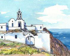 Ios drei Kapellen auf der Hill Griechenland Kunstdruck aus