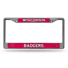 Wisconsin Badgers Bling Chrome License Plate Frame