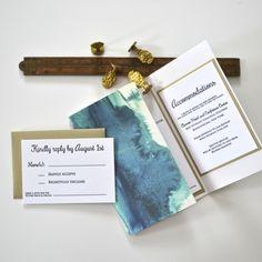louelle design studio blue watercolor ombre lace wedding invitation rochester new york - Wedding Invitations Rochester Ny