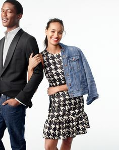 J.Crew women's flounce silk dress in wolfstooth and denim jacket in Tyler wash.