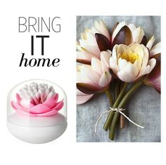 """Bring It Home: Bloss Lotus Cotton Bud Holder"" by polyvore-editorial ❤ liked on Polyvore featuring interior, interiors, interior design, home, home decor, interior decorating and bringithome"