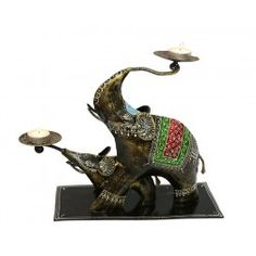Two Elephants Tea Light Holder