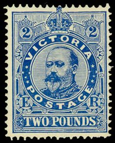 1905 Vintage Stamps, Stamp Collecting, Coins, Poster, Antiques, Blue, Victoria Australia, Top, Ephemera