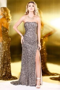Dark Lead Sequin Strapless Gown 3158 - Prom 2017 - Collections