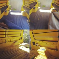 Removing the old carpet and panels. Luckily it wasn't glued, just screwed. #vanconversion #newfloor
