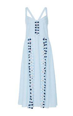 Embroidered Menswear Stripe Pari Dress by TANYA TAYLOR for Preorder on Moda Operandi