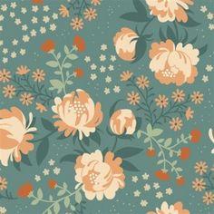 Tissu coton Peonies Blue x 10 cm