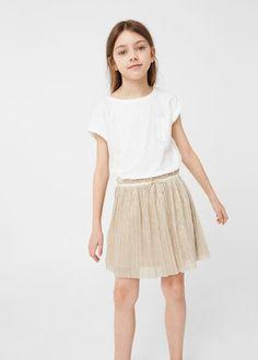 Metallic pleated skirt   MANGO KIDS