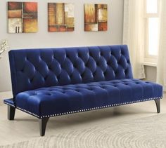Coaster 500097 Futons Transitional Sofa Bed with Velvet Upholstery Sinuous Spring Base and Nailhead Trim in Royal