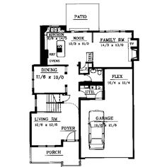 Traditional Style House Plan - 4 Beds 2.5 Baths 2216 Sq/Ft Plan #94-208 Floor Plan - Main Floor Plan - Houseplans.com