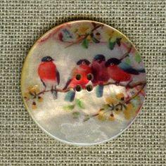 .Botones de nacar, pintados con motivos de pajaros, Un lujazo.