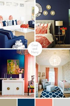 Living room color scheme complimentary colors for navy blue- home decor House Styles, Coral Living Rooms, Bedroom Decor, Home, Complimentary Colors, Coral Bedroom, Blue Home Decor, Home Decor, Room