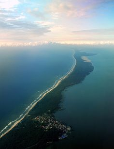 The Curonian spit, a 100 km long and 0.4-4 km wide piece of land on the Baltic sea, shared between Russia and Lithuania