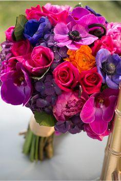 radiant orchid and jewel tones via StyleUnveiled.com / Stephanie Hogue Photography / Vintage Broach Wedding / Jewel Tones