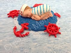 Fondant Baby Cake Topper  Nautical Design2 by anafeke on Etsy, $16.00