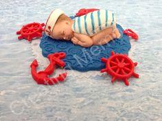Nautical Baby Boy Design/Edible Cake Topper, Ready for your BABY SHOWER Celebration Cake,Fondant,Gumpaste,Boy or Girl you choose the color Satin Ice Fondant, Cake Fondant, Baby Shower Cakes, Baby Shower Themes, Sugar Animal, Baby Mold, Baby Cake Topper, Cake Topper Tutorial, Baby Presents