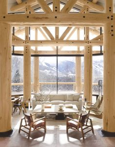 Rustic Living Room by Atelier AM and Finholm Architects in Aspen, Colorado