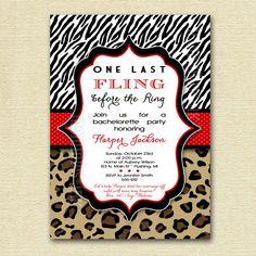 Fling Before the Ring Bachelorette Party Invite - Zebra and Leopard Print - PRINTABLE INVITATION DESIGN